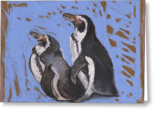 Beach House Pastels Greeting Cards - Tye Dye Penguins Greeting Card by Jane Wilcoxson