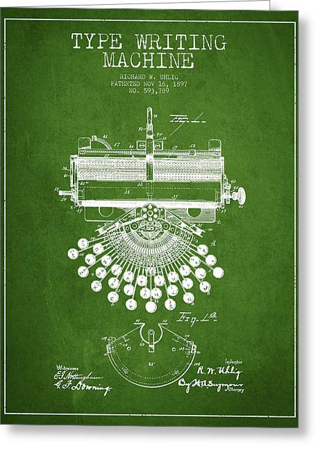 Typewriter Greeting Cards - Type Writing Machine Patent Drawing From 1897 - Green Greeting Card by Aged Pixel