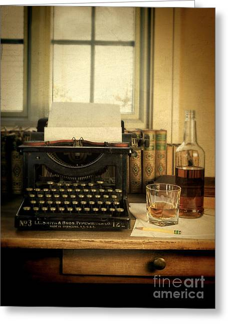 Journalism Greeting Cards - Typewriter and Whiskey Greeting Card by Jill Battaglia