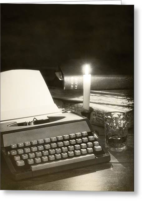 Glass Vase Greeting Cards - Typewriter by candlelight Greeting Card by Amanda And Christopher Elwell