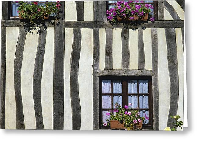 Half-timbered Greeting Cards - Typical house  half-timbered in Normandy. France. Europe Greeting Card by Bernard Jaubert