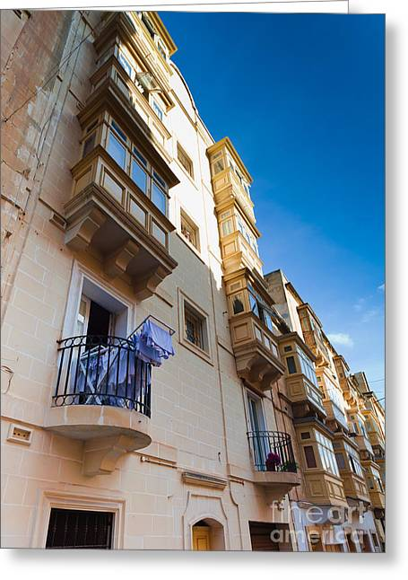 Mediterranean Style Greeting Cards - Typical Maltese building with balconies Greeting Card by Frank Bach
