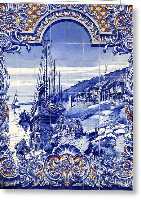Fresh Food Greeting Cards - Typical Portuguese Azulejos Greeting Card by Jose Elias - Sofia Pereira
