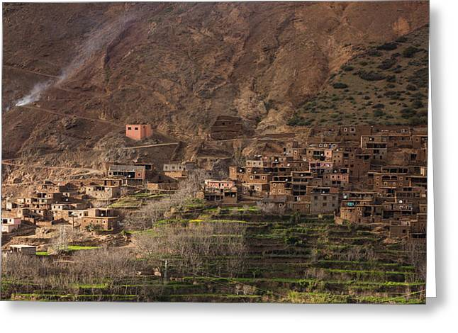 Rock Slope Greeting Cards - Typical village in Morocco Atlas Greeting Card by Ruben Vicente