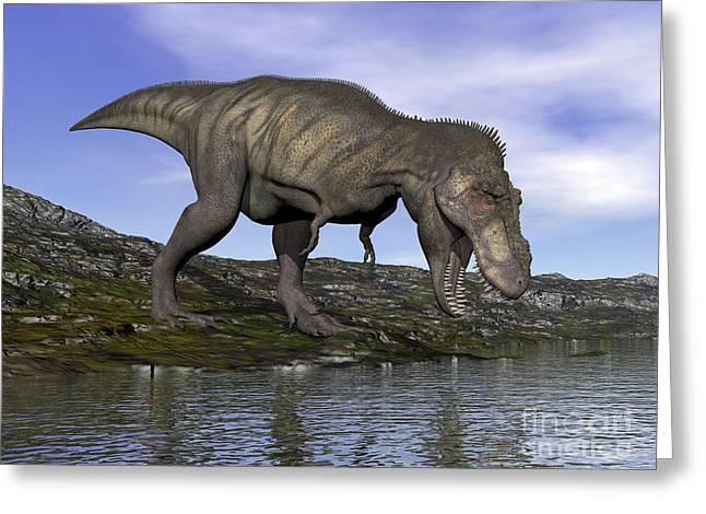 Stream Digital Art Greeting Cards - Tyrannosaurus Rex Dinosaur Walking Greeting Card by Elena Duvernay