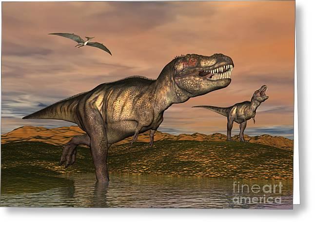 Stream Digital Art Greeting Cards - Tyrannosaurus Rex Dinosaurs Greeting Card by Elena Duvernay