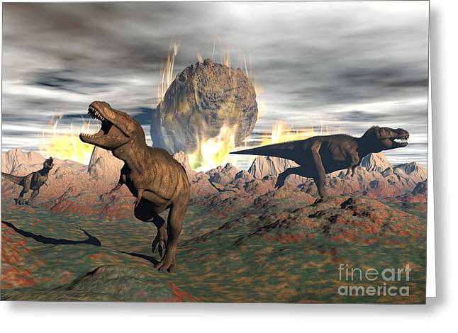 Overcast Day Digital Art Greeting Cards - Tyrannosaurus Rex Dinosaurs Escaping Greeting Card by Elena Duvernay
