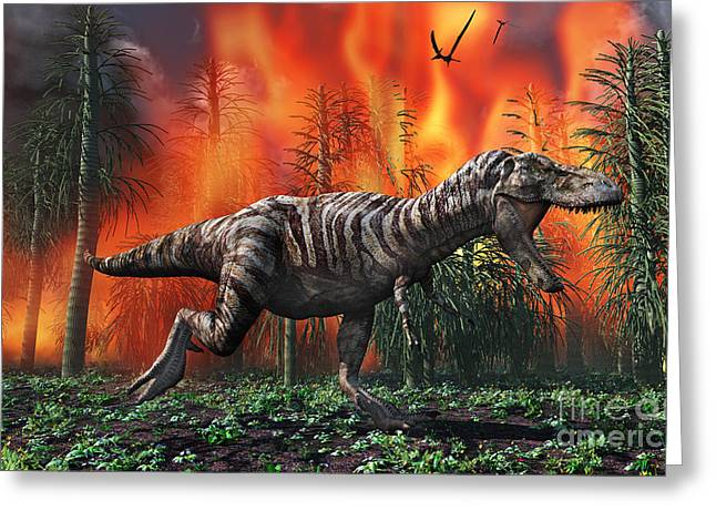 Fire In The Wood Greeting Cards - Tyrannosaurus Rex Fleeing From A Deadly Greeting Card by Mark Stevenson