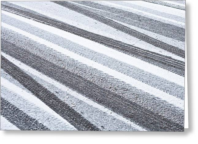 Asphalt Greeting Cards - Tyre tracks Greeting Card by Tom Gowanlock