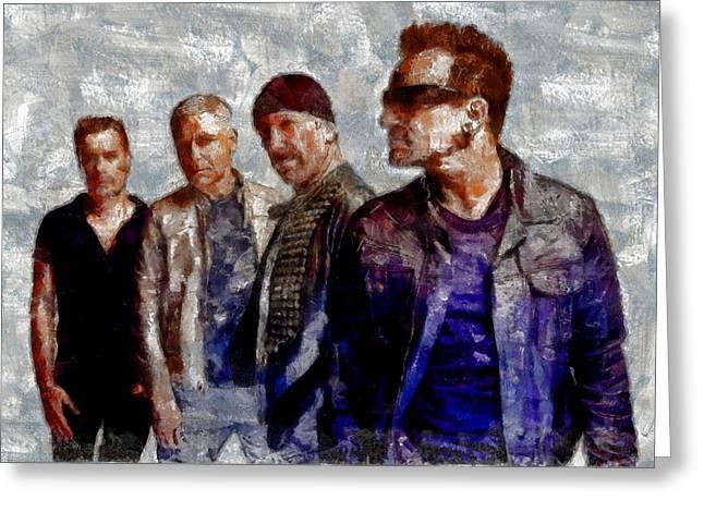U2 Goup Greeting Card by Riccardo Zullian