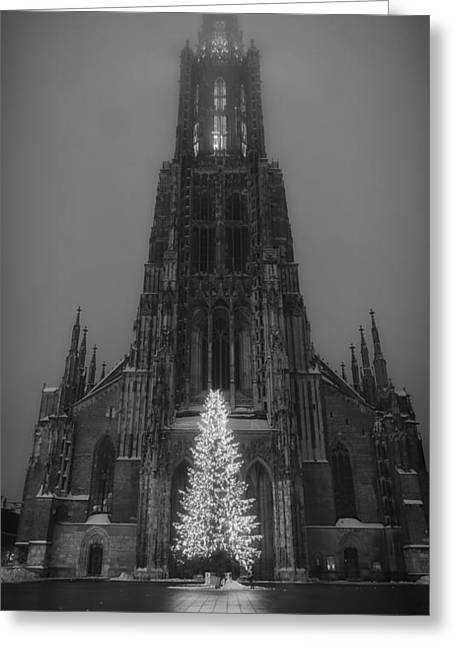 Ulm Greeting Cards - Ulm Cathedral at Christmas Greeting Card by Mountain Dreams