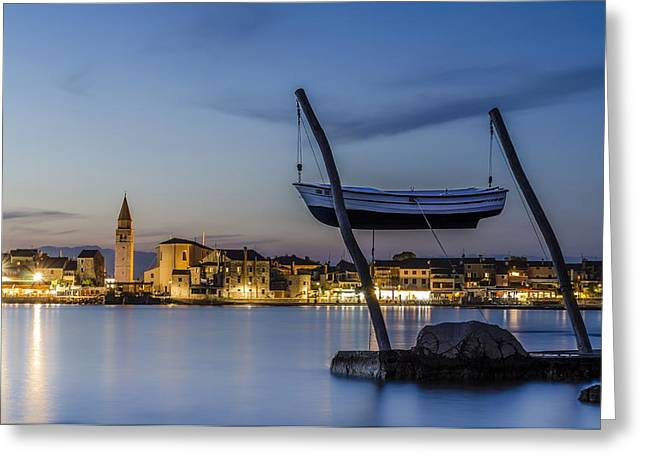 Reflection In Water Greeting Cards - Umag By The Night Greeting Card by Dejan Stojakovic
