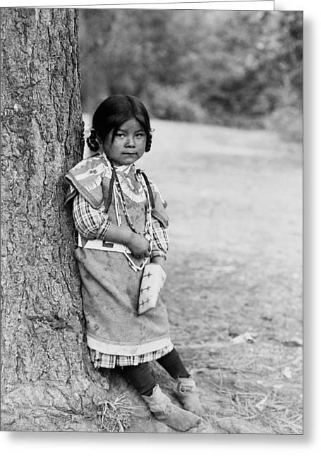 Native American Girl Greeting Cards - Umatilla girl circa 1910 Greeting Card by Aged Pixel