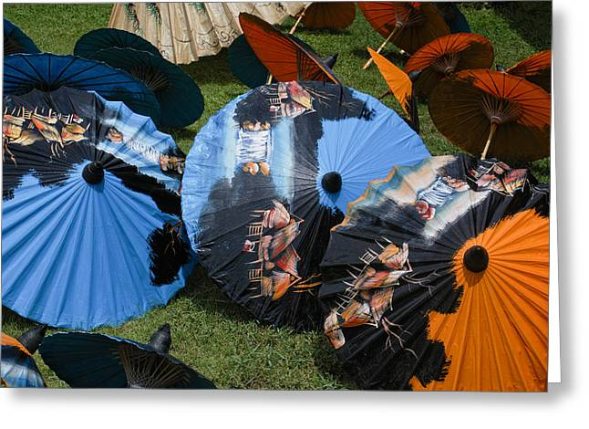 Bos Bos Digital Art Greeting Cards - Umbrella Factory in Chiang Mai Greeting Card by Carol Ailles