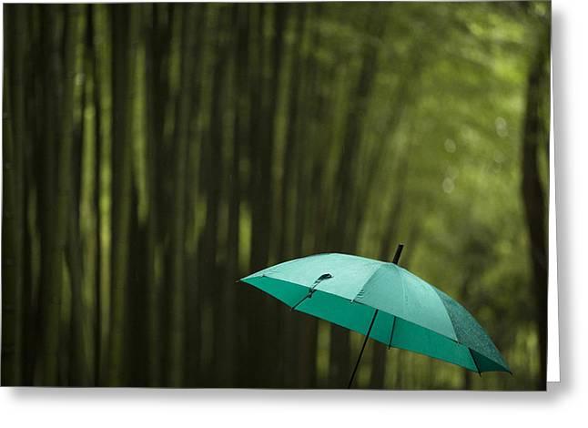Arashiyama Greeting Cards - Umbrella in Arashiyama bamboo forest Greeting Card by Ruben Vicente