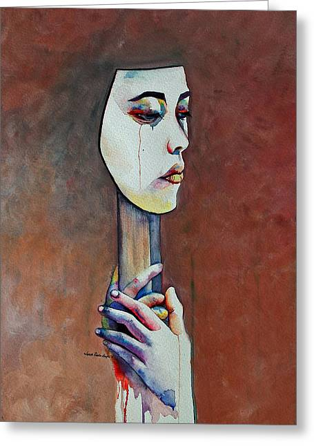 Slavery Paintings Greeting Cards - Unburden Me Greeting Card by Janet Pancho Gupta
