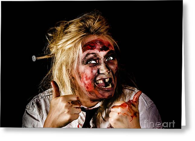 Undead Business Zombie Giving Halloween Thumbs Up Greeting Card by Jorgo Photography - Wall Art Gallery