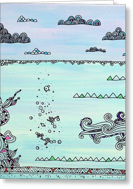 Under The Sea Greeting Cards - Under and Over Greeting Card by Susan Claire