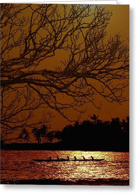 Canoe Greeting Cards - Under The Sunset Greeting Card by Athala Carole Bruckner