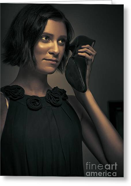 Eye Gestures Greeting Cards - Undercover Secret Agent Using Shoe Phone Greeting Card by Ryan Jorgensen
