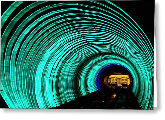 Underground Tunnel Lights Greeting Card by Keren Su
