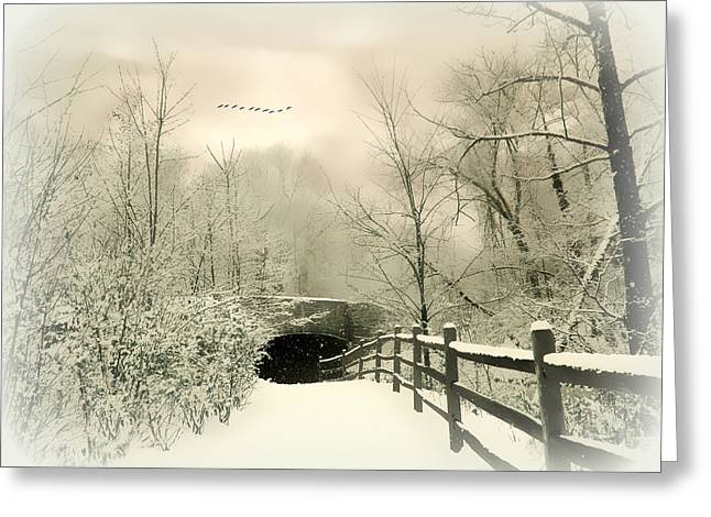Winter Landscape Digital Greeting Cards - Underhill Crossing Greeting Card by Jessica Jenney