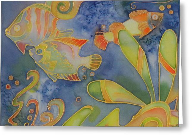 Marine Fish Tapestries - Textiles Greeting Cards - Underwater Life Greeting Card by Ruta Naujokiene