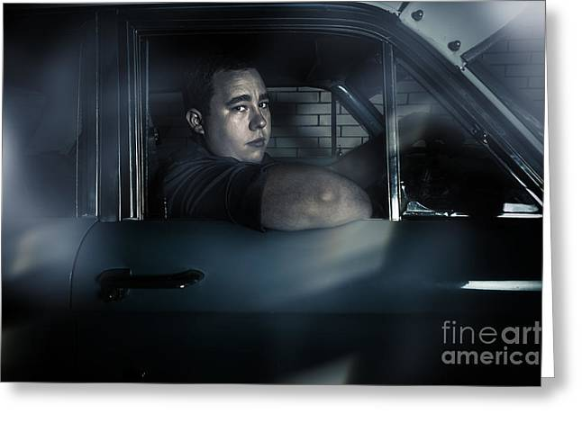Underworld Human Greeting Cards - Underworld man looking out car window in dark Greeting Card by Ryan Jorgensen