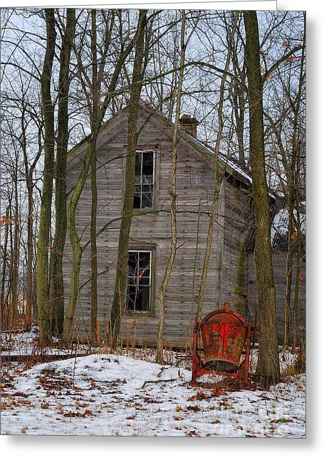 Old Farm House Greeting Cards - Unfinished Work Greeting Card by Pamela Baker