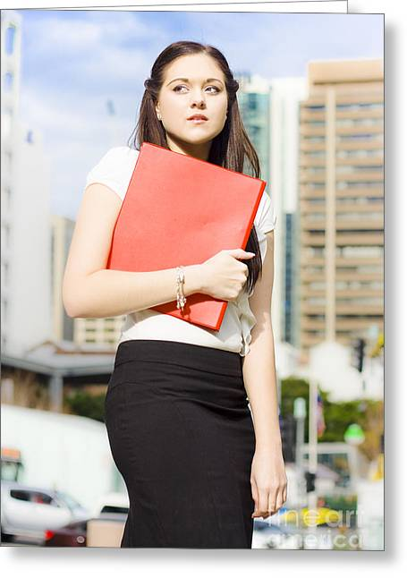 Unhappy Business Woman Crying On City Street Greeting Card by Jorgo Photography - Wall Art Gallery