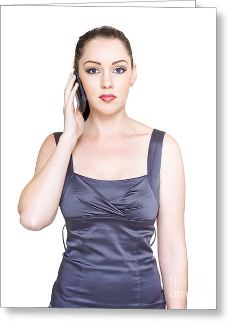 Cellphone Greeting Cards - Unhappy Young Business Woman On Telephone Call Greeting Card by Ryan Jorgensen