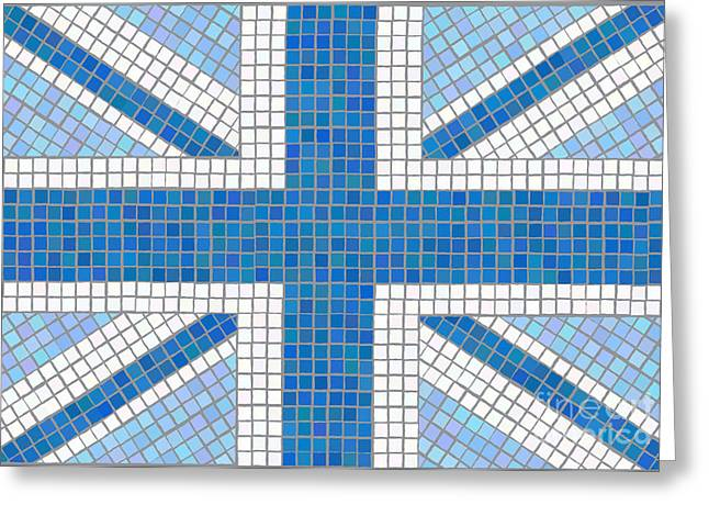 Union Jack Blue Greeting Card by Jane Rix