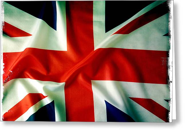 Background Greeting Cards - Union Jack Greeting Card by Les Cunliffe