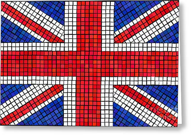 Union Jack mosaic Greeting Card by Jane Rix