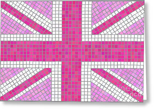 Grey Background Greeting Cards - Union Jack pink Greeting Card by Jane Rix