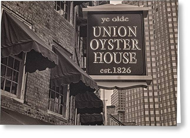 Faneuil Hall Greeting Cards - Union Oyster House Greeting Card by Joann Vitali