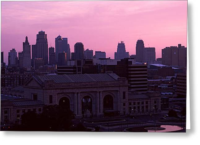 Kansas City Greeting Cards - Union Station At Sunset With City Greeting Card by Panoramic Images