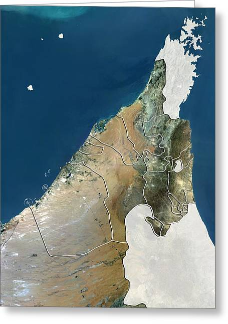 Umm Greeting Cards - United Arab Emirates, satellite image Greeting Card by Science Photo Library