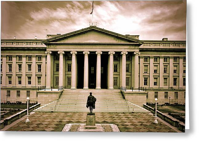 Analog Greeting Cards - United State Treasury Building Greeting Card by Mountain Dreams