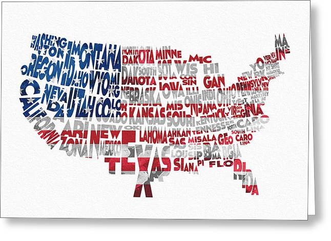 Abstract Map Greeting Cards - United States Typographic Map Flag Greeting Card by Ayse Deniz