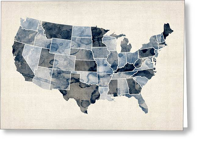 State Map Greeting Cards - United States Watercolor Map Greeting Card by Michael Tompsett