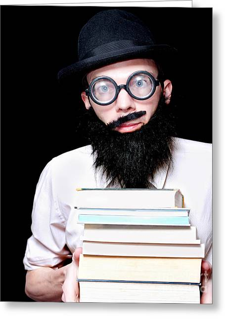 Clever Greeting Cards - University Lecturer Holding Education Text Books Greeting Card by Ryan Jorgensen