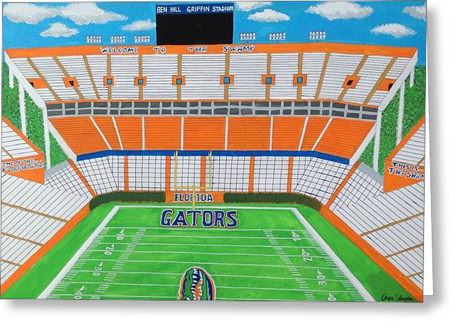 Florida Gators Mixed Media Greeting Cards - University of Florida Gators Stadium  Greeting Card by Omari Slaughter