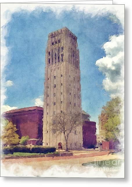 Burton Mixed Media Greeting Cards - University of Michigan Clock Tower 2 Greeting Card by Phil Perkins