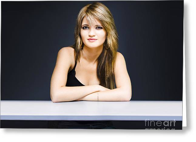 Satisfaction Greeting Cards - University student sitting at classroom desk Greeting Card by Ryan Jorgensen