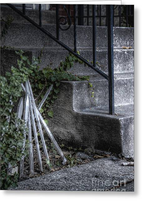 Wooden Stairs Greeting Cards - Unkept Greeting Card by Margie Hurwich