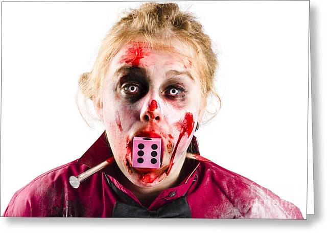 Ghastly Greeting Cards - Unlucky woman with dice in mouth Greeting Card by Ryan Jorgensen