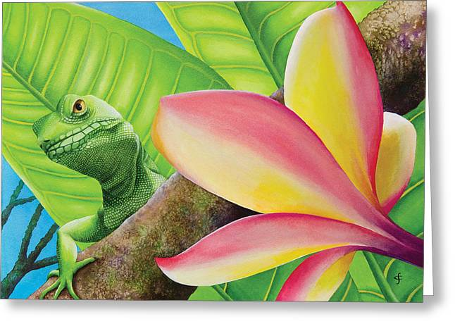 Lizard Illustration Greeting Cards - Peekaboo Lizard Greeting Card by Carolyn Steele