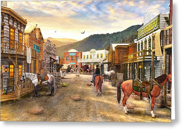 Horizontal Digital Art Greeting Cards - Wild West Town Greeting Card by Dominic Davison