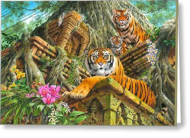 Temple Tigers Greeting Card by John Francis
